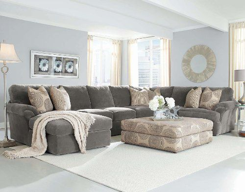 Chelsea Home Bradley Large Sectional in Light Grey Fabric Consists .