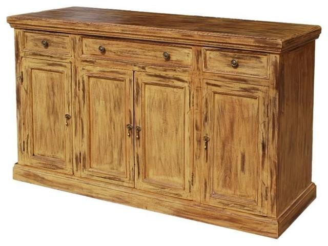 Courtdale Rustic Solid Wood 4 Door 3 Drawer Large Sideboard .