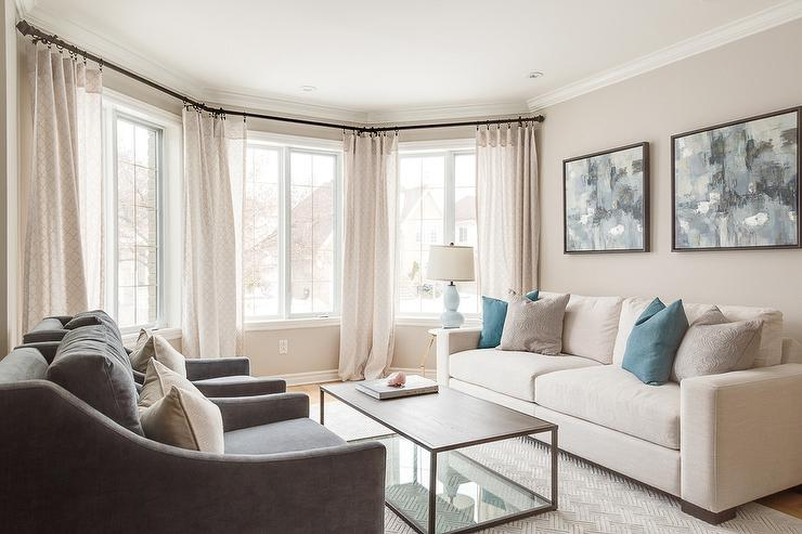 Cream Sofa with Blue pIllows - Transitional - Living Ro