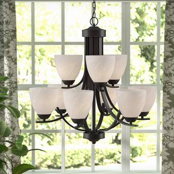 Red Barrel Studio Crofoot 9-Light Shaded Tiered Chandelier .
