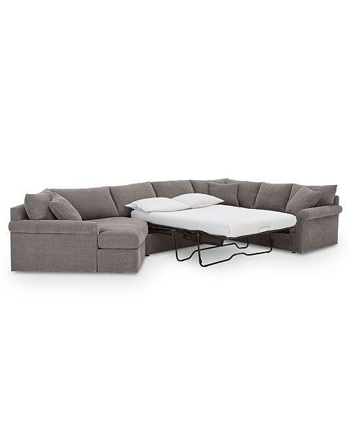 Furniture Wedport 3-Pc. Fabric Sofa Return Sleeper Sectional with .