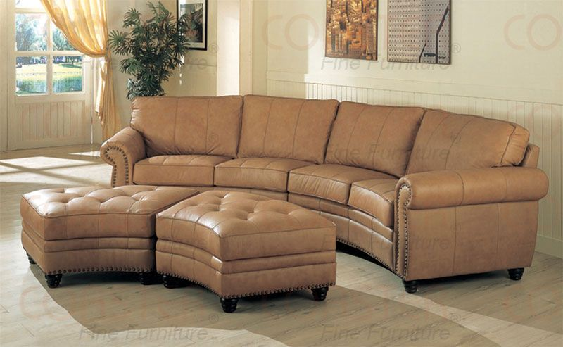 Gorgeous curve leather buckskin color sectional | Curved couch .