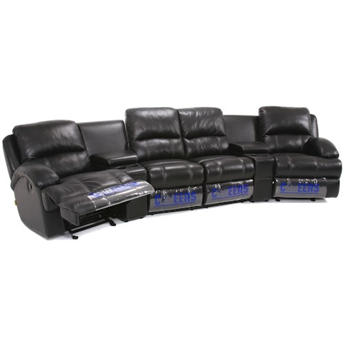 Cheers Sofa UXW8626M Casual Curved Theater Sectional with Storage .