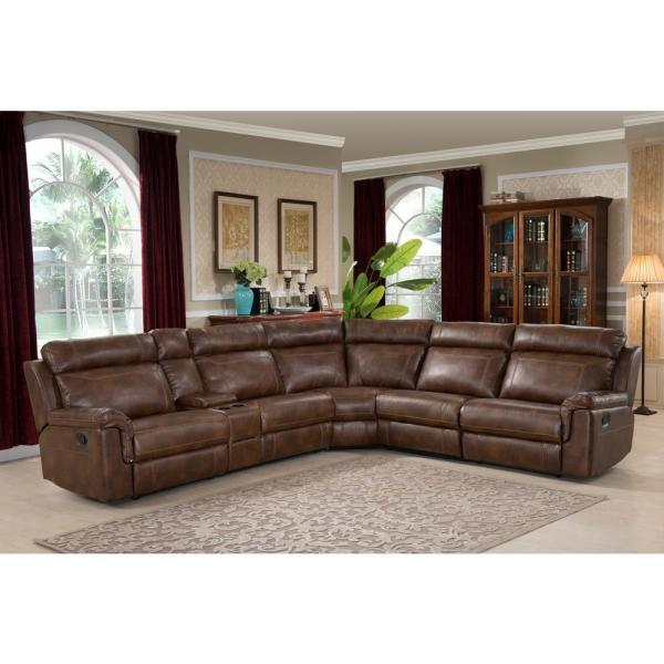 AC Pacific Clark 6-Piece Brown Faux Leather 6-Seater Curved .