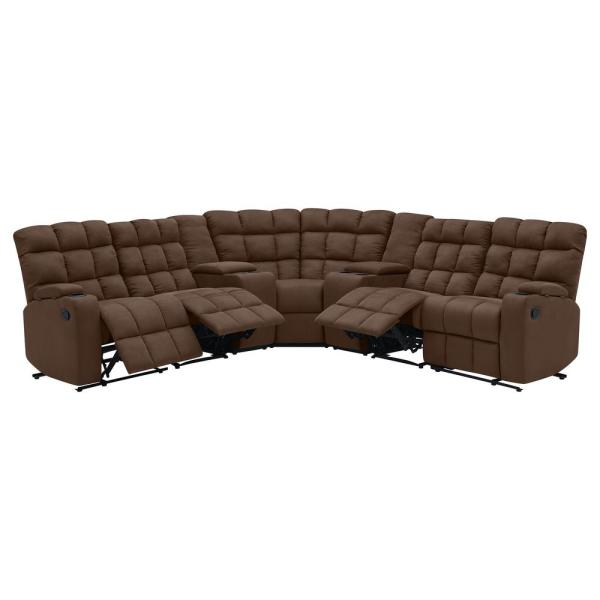 ProLounger 7-Piece Dark Brown Microfiber 4-Seater Curved Power .