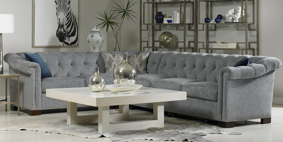 Designer Tufted Sectional Sofa, Transitional so