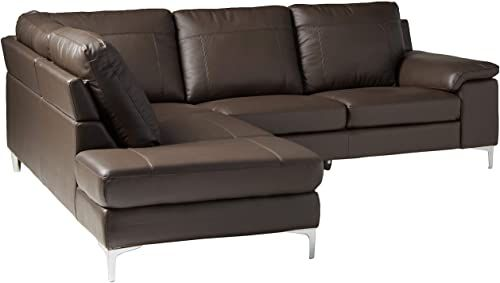 Buy Cortesi Home Contemporary Dallas Genuine Leather Sectional .