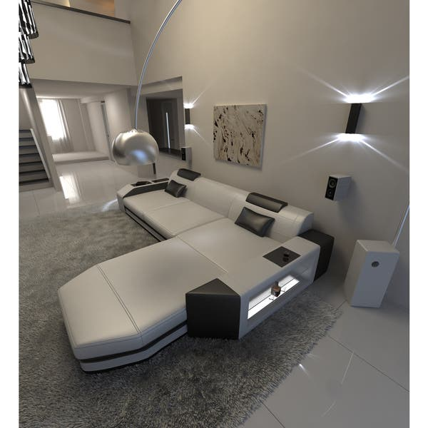 Shop Modern L Shaped Sectional Sofa Dallas with LED Lights .