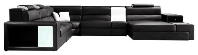 Soflex Dallas Contemporary Black Faux Leather Corner Sectional .