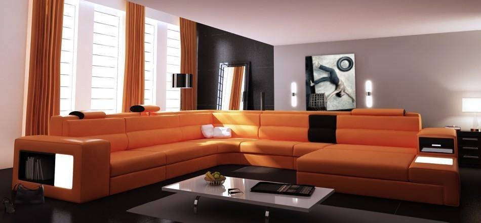 Contemporary Orange Faux Leather Corner Sectional Sofa Right .