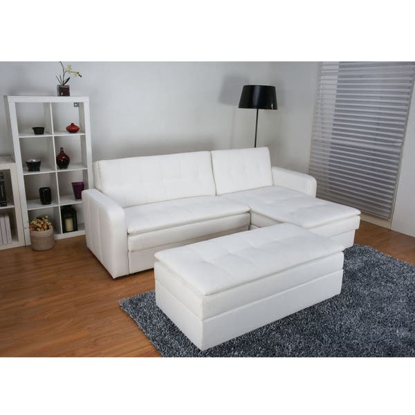 Shop Denver White Double Cushion Storage Sectional Sofa Bed and .