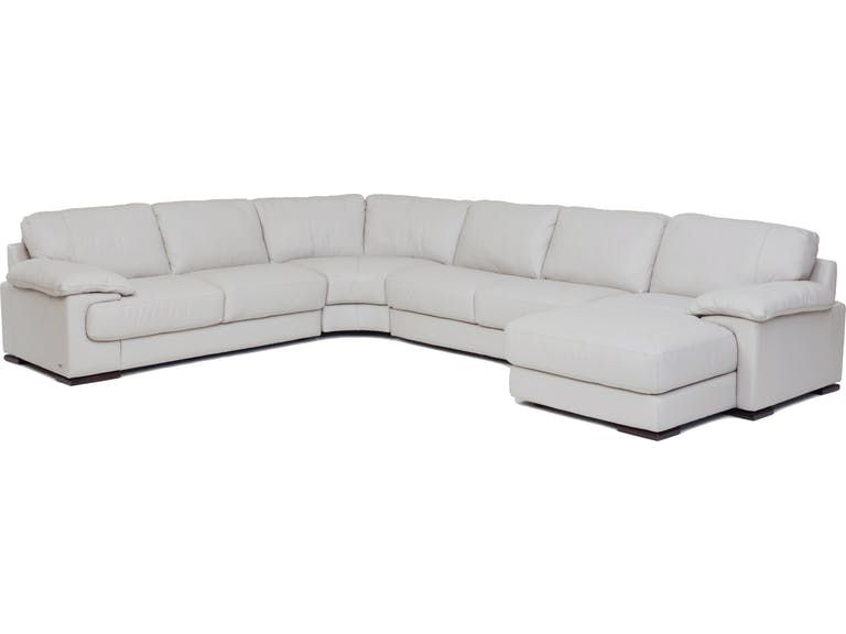 Denver 4-Piece Leather RAF Chaise Sectional - SMOKE GP:L116 .