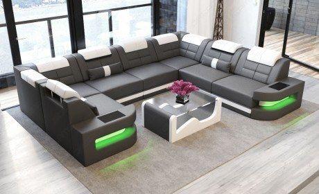 Leather Sectional Sofa Denver U-Shape with LED - grey-white .