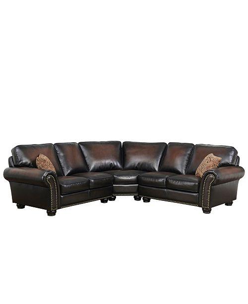 Abbyson Living Denver Leather Sectional Sofa & Reviews - Furnitu