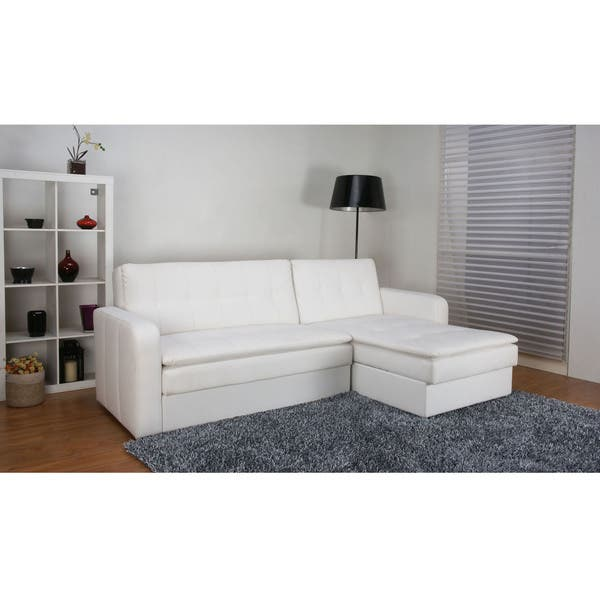 Shop Denver White Double Cushion Storage Sectional Sofa Bed - Free .