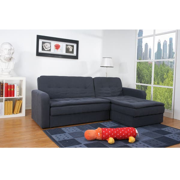 Shop Denver Steel Finish Double Cushion Storage Sectional Sofa Bed .