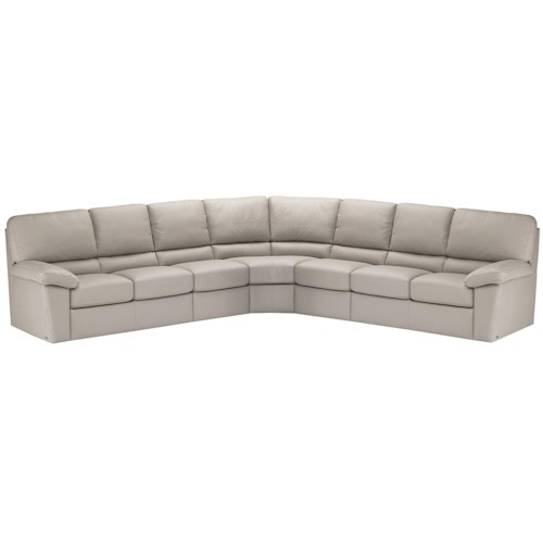 Italsofa i210 Contemporary Leather Sofa Sectional with Plush .
