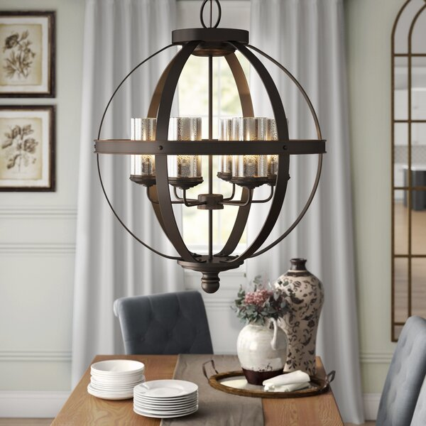 Birch Lane™ Heritage Donna 6-Light Shaded Globe Chandelier .