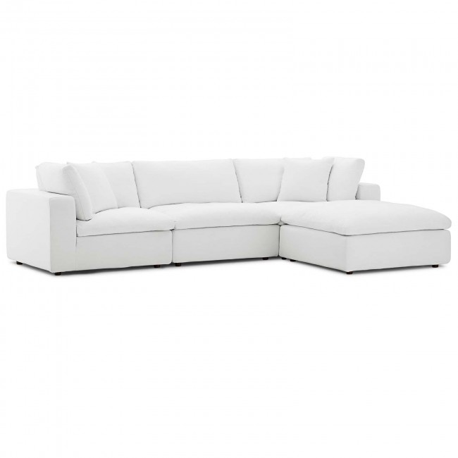 Commix White Down Filled Overstuffed 4 Piece Sectional Sofa Set .