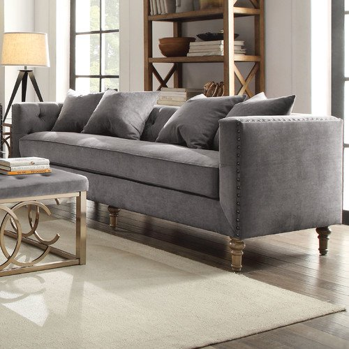 ACME Sidonia Down Feather Filled Sofa with 4 Pillows, Grey Velvet .
