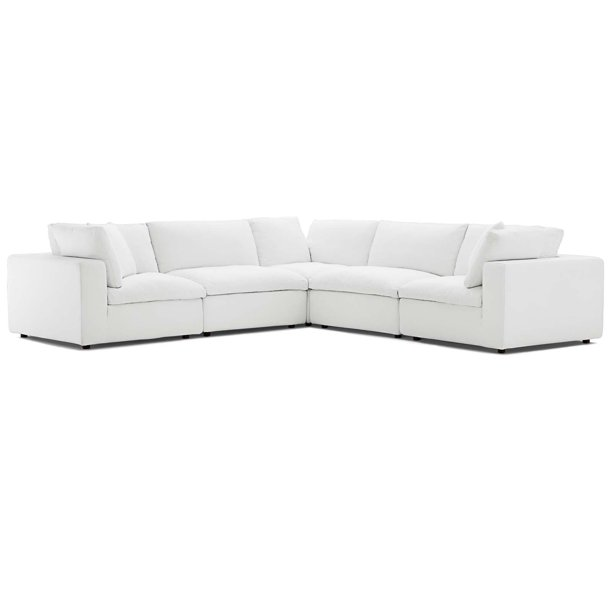 Commix Down Filled Overstuffed 5 Piece Sectional Sofa Set in White .