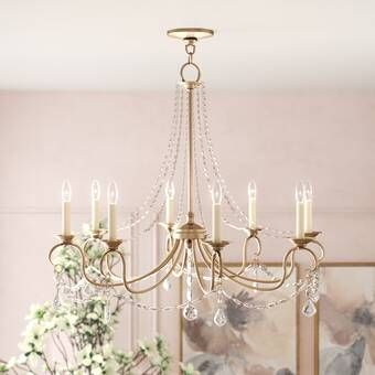 Duron 5 - Light Candle Style Wagon Wheel Chandelier with Beaded .