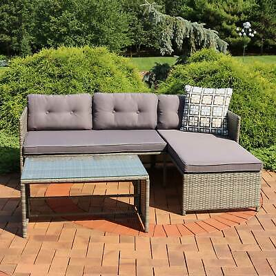 Sunnydaze Longford Patio Sectional Sofa Set with Cushions .