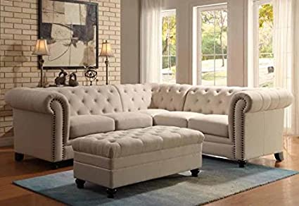 Amazon.com: 1PerfectChoice Roy Elegant Button Tufted Sectional .