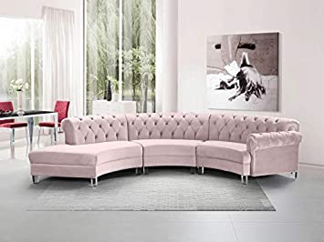 Amazon.com: Esofastore Contemporary Pink Velvet 3 pcs Sectional .