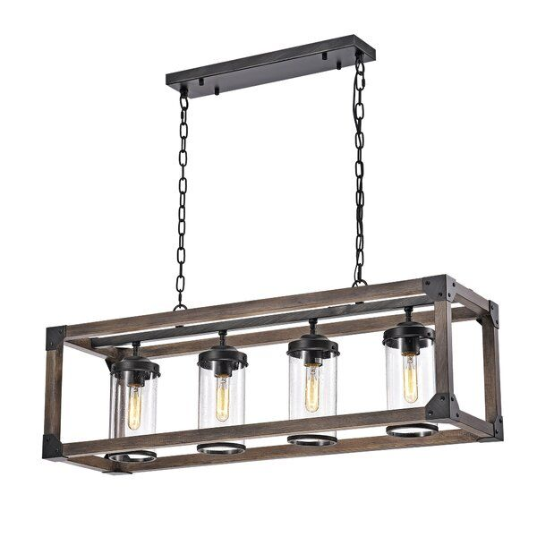 Ellenton 4 - Light Shaded Rectangle Chandelier with Wrought Iron .