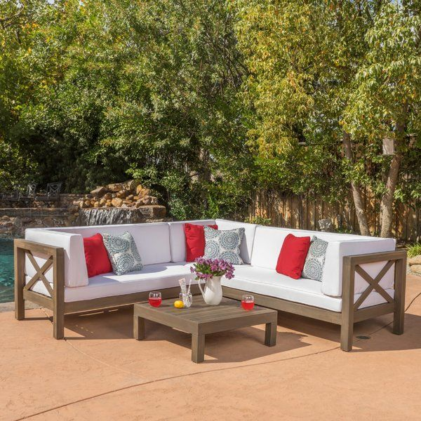 Ellison 4 Piece Sectional Seating Sofa Set with Cushions | Outdoor .
