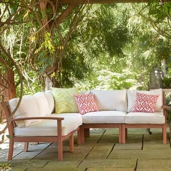 Ansel Outdoor 5 Piece Sectional Seating Group with Cushion | Patio .