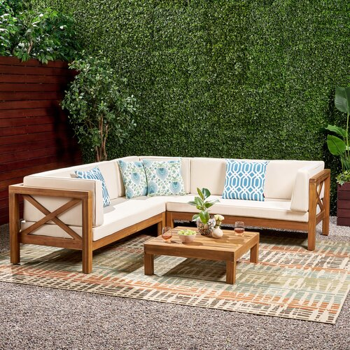 Ellison 4 Piece Sectional Seating Sofa Set with Cushions & Reviews .