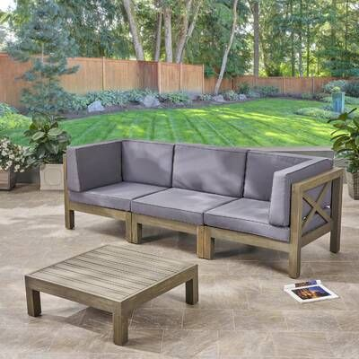 Ansel Outdoor 5 Piece Sectional Seating Group with Cushion .