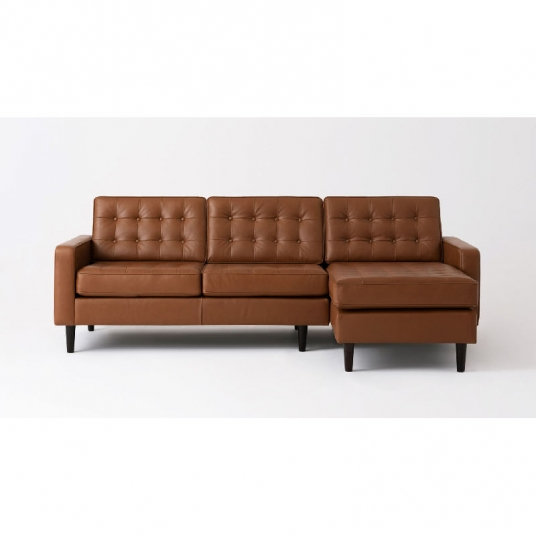 Apartment 2 Piece Sectional Sofa with Leather Chaise Reverie EQ3 .