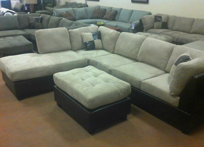 Modern Ivory SECTIONAL SOFA w/ Leather Trim (IN LIMITED STOCK NOW .