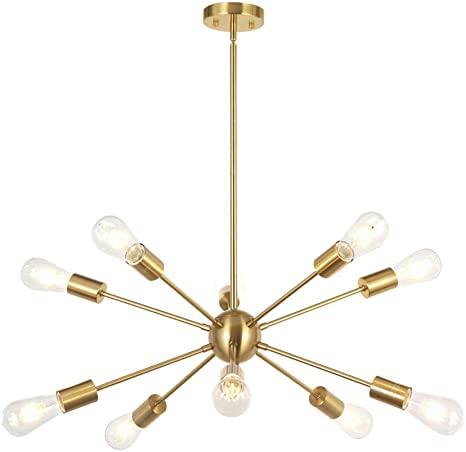 BONLICHT Sputnik Chandelier 10 Light Brushed Brass Modern Pendant .