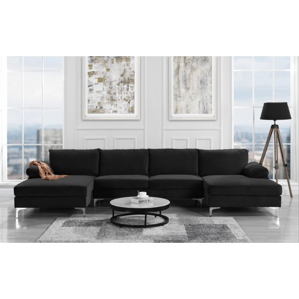 modern large velvet fabric u-shape sectional sofa, double extra .