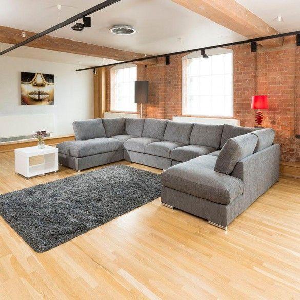 Extra Large New Sofa Set Settee Corner Group U Shape Grey 4.0x2.1m .