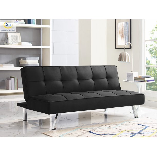Serta Chelsea 3-Seat Multi-function Upholstery Fabric Sofa, Black .
