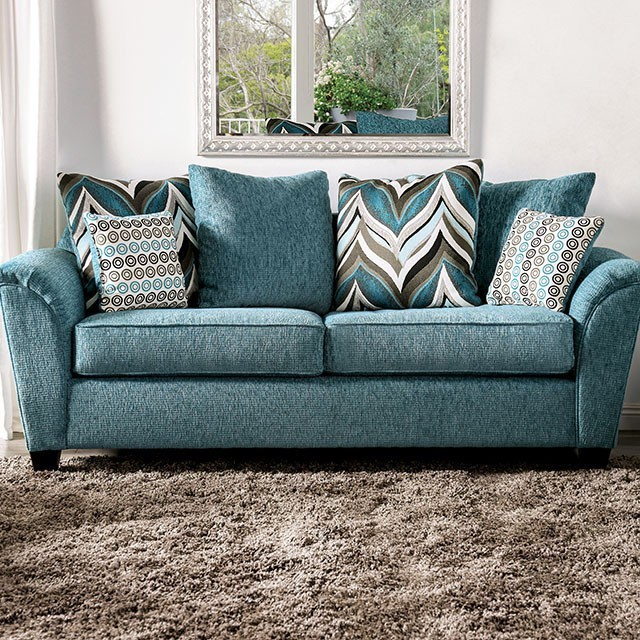 River Transitional Turquoise Chenille fabric So
