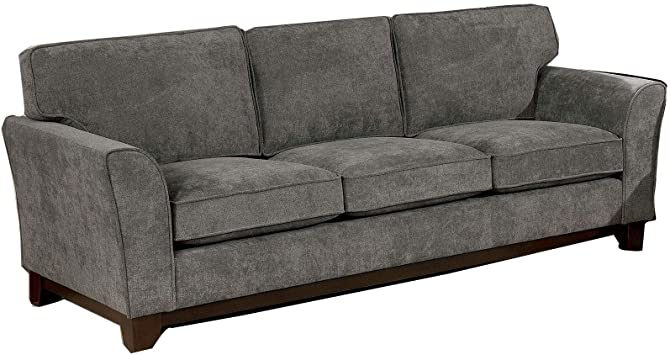 Amazon.com: Benjara, Gray Chenille Fabric Upholstered Wooden Sofa .