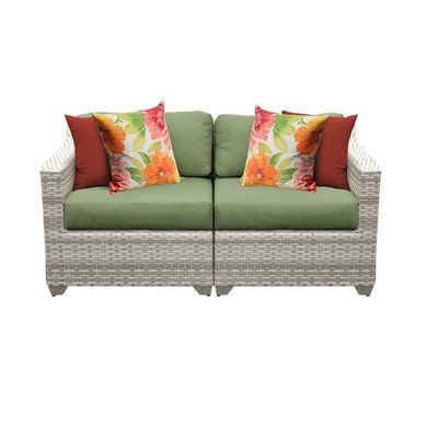Sol 72 Outdoor Falmouth Loveseat with Cushions Cushion Colour .