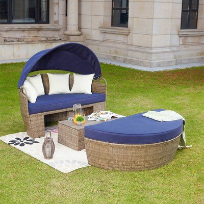 Beachcrest Home Fansler Patio Daybed with Cushions Color: Blue .