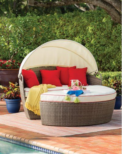 Fansler Patio Daybed with Cushions | Daybed sets, Traditional .
