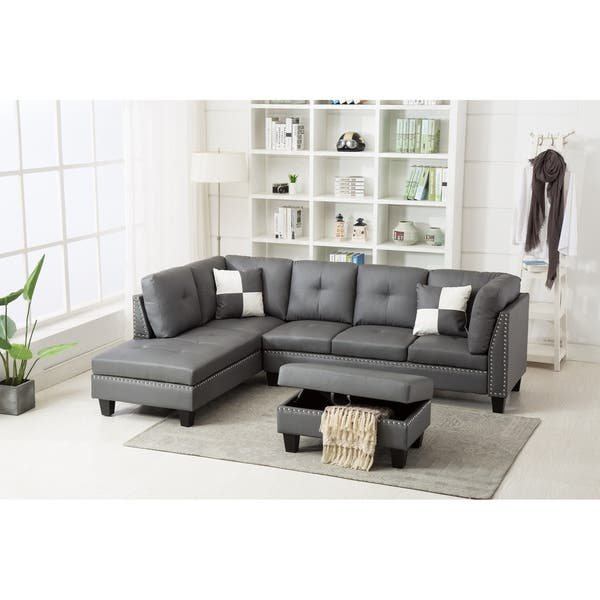 Shop Nail Trim Faux Leather Sectional Sofa with Storage Ottoman .