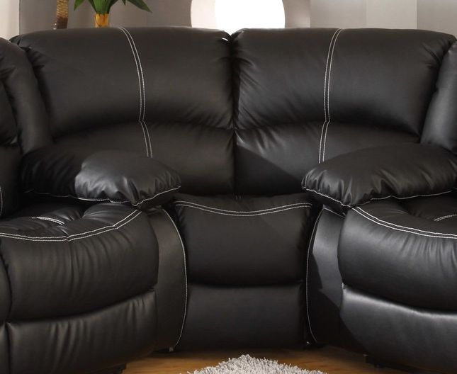 Bromham Traditional Black Faux Leather Wedge for Sectional Sofa S