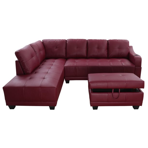 Sectional Sofa_AYCP Furniture_Red Faux Leather Sectional Sofa with .