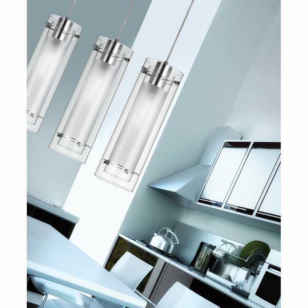 Orren Ellis Fennia 1 - Light Single Cylinder Pendant with Glass .