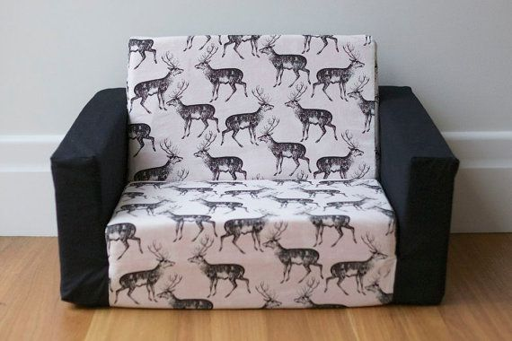 Kids Flip Out Sofa Cover: Black on White Deer Print   Toddler sofa .